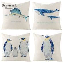 Fuwatacchi Sea Creatures Linen Cushion Cover Penguins Whale Tuna Marlin Throw Pillow Cover White and Blue Pillowcases Square