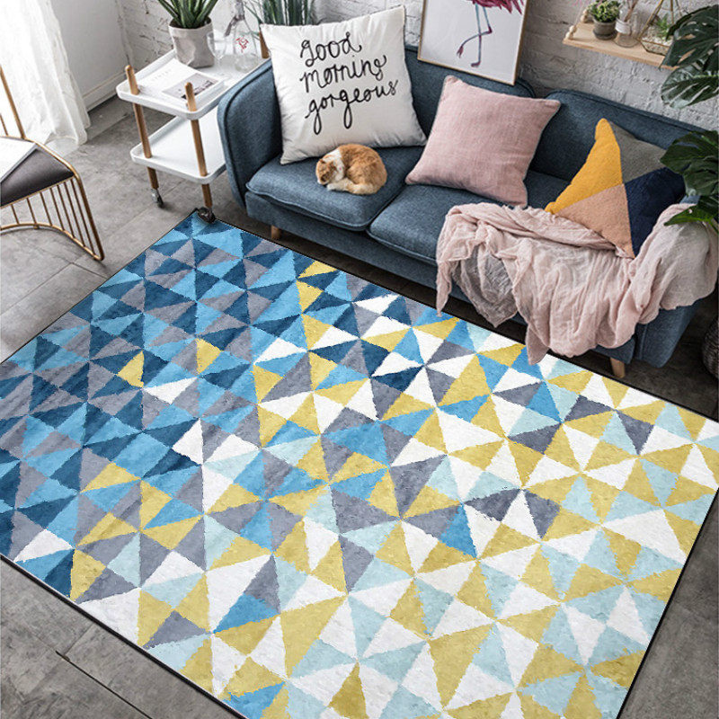 Fashion Nordic Geometric Carpet Yellow Blue Rugs Livingroom Bedroom Hallway Kids Room Carpet Bathroom Tapetes Customized
