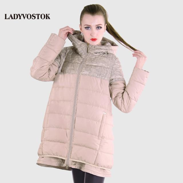 LADIVOSTOK весна новый модель сращивание легкая куртка модный модель парка жинская с капюшоном длинный комфортно теплое защита ветер 12-254-2