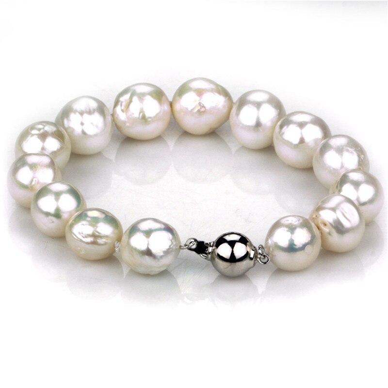 SNH New Design Pearl Bracelet 12mm White Baroque Natural Freshwater Pearl bracelets & bangles for Women's Fine Jewelry все цены