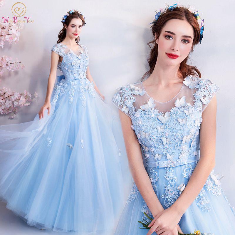 Walk Beside You Tulle   Prom     Dresses   Blue Lace Appliques Beading A-line Long Vestidos De Graduacion Butterfly Evening Gowns Stock