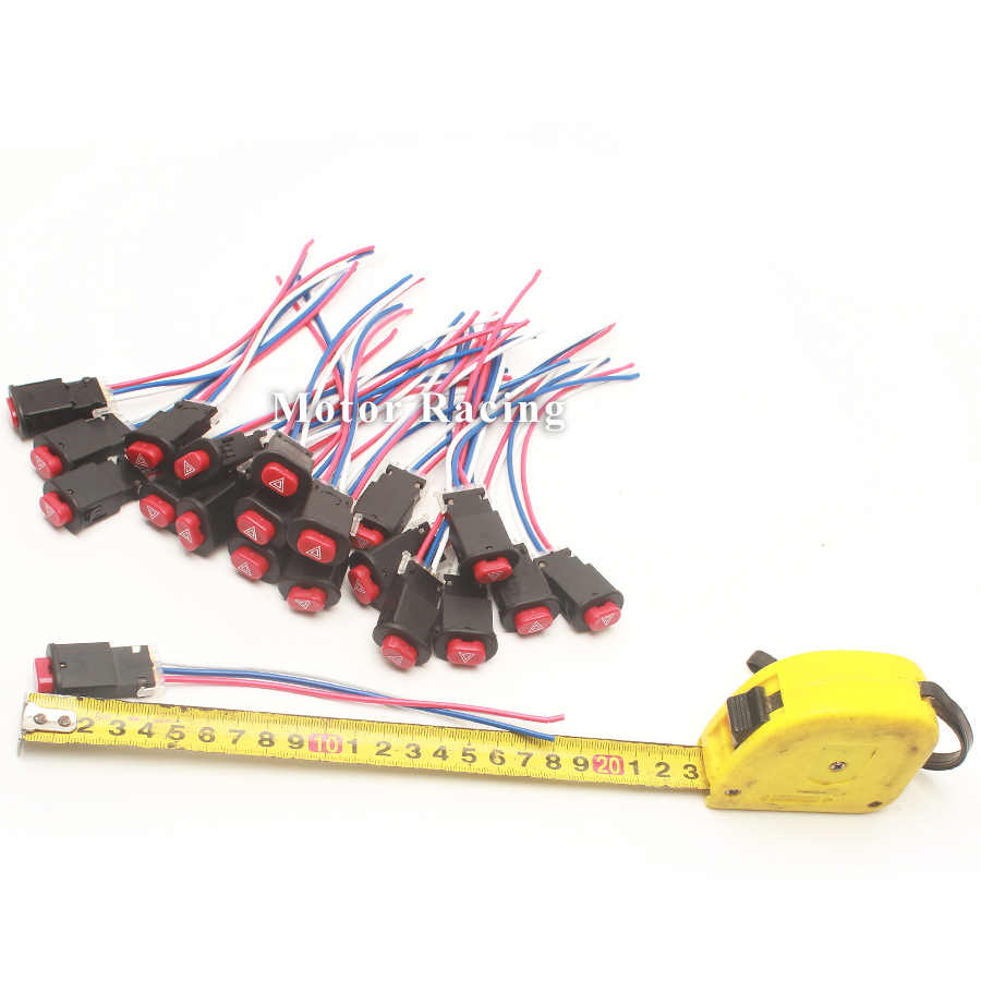20 Pcs Universal Motor Double Flash Tombol Switch Tahan Air Lampu Lampu 12 V Switch Peringatan Sistem Listrik Sepeda Motor Bagian