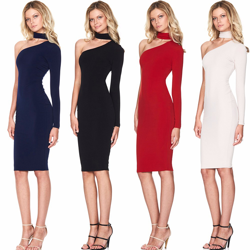 One Shoulder Halter Long Sleeve Women Pencil Dress Sexy Club Bodycon Party Dresses (16)