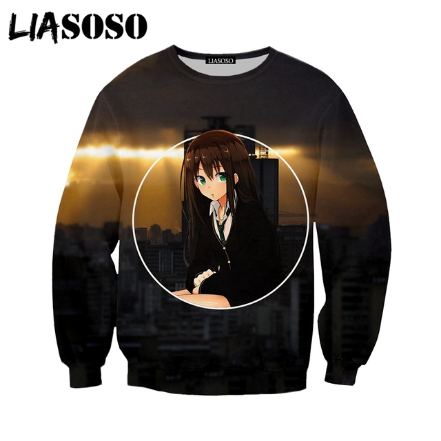 LIASOSO Fashion Jumper 3D Print Creative Ahegao 2018 Sweatshirt Casual Long Sleeve Hoodies Pocket Pullover For Men Women Y346