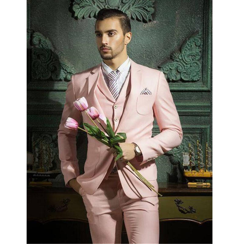 New Men's Suits Design Men Suits Fashion Pink Groom Suits Notched Lapel Best Men's Wedding Dresses Prom Suits(Jacket+pants+Vest)