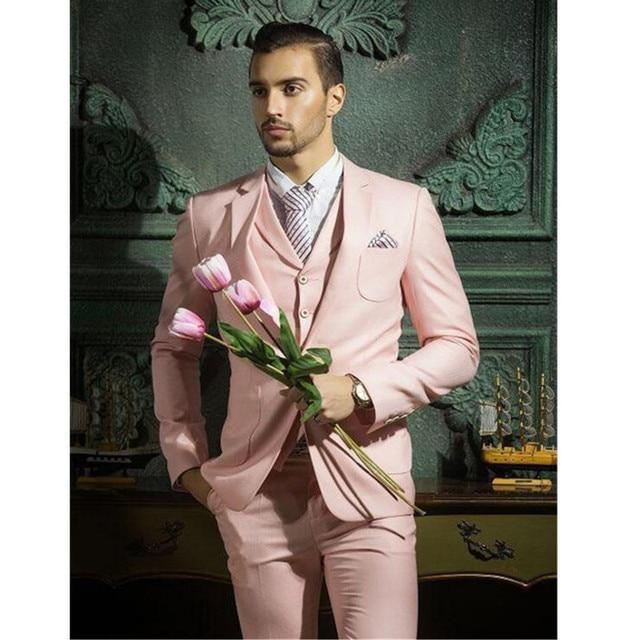 New Men\'s suits Design men suits fashion Pink Groom suits Notched ...