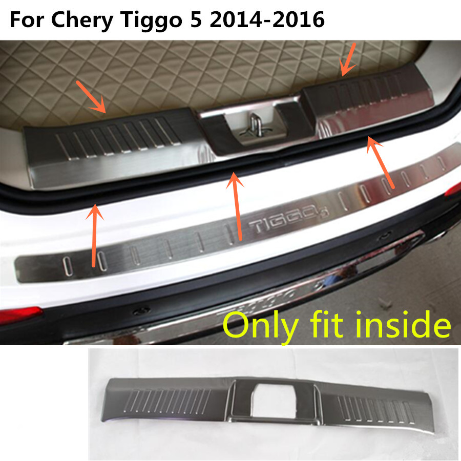 For Chery Tiggo 5 Tiggo5 2014 2015 2016 Car body cover Stainless Steel Inner built Rear Bumper trim plate lamp pedal hoods 1pcs car styling cover detector stainless steel inner built rear bumper protector trim plate pedal 1pcs for su6aru outback 2015