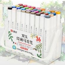 اثنين تلميح لمسة الكتابة 12/18/24/36 ألوان أقلام تلوين رسم مجموعة أقلام ل رسم مانغا الرسوم المتحركة الفنان الكحول أساس فرشاة F556