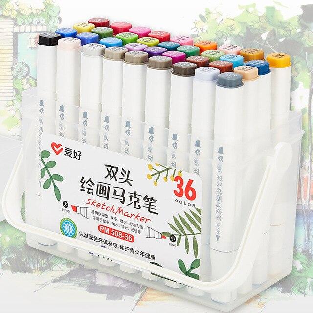 שני טיפ מגע כתיבה 12/18/24/36 צבעים אמנות סמן סקיצה עט סט עבור ציור מנגה אנימציה אמן אלכוהול מבוסס מברשת F556