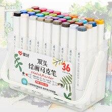 Twee tip touch schrijven 12/18/24/36 Kleuren Art Marker schets pen Set voor Tekening Manga animatie Kunstenaar Alcohol Gebaseerd Borstel F556