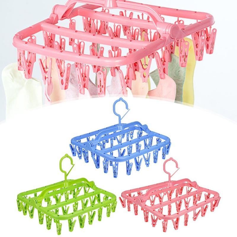 ตู้เสื้อผ้าเก็บแขวนผ้า 32 คลิปแบบพกพาถุงเท้าแขวนผ้า Rack Clothespin Multifunctional แห้งถุงเท้าผู้ถือ