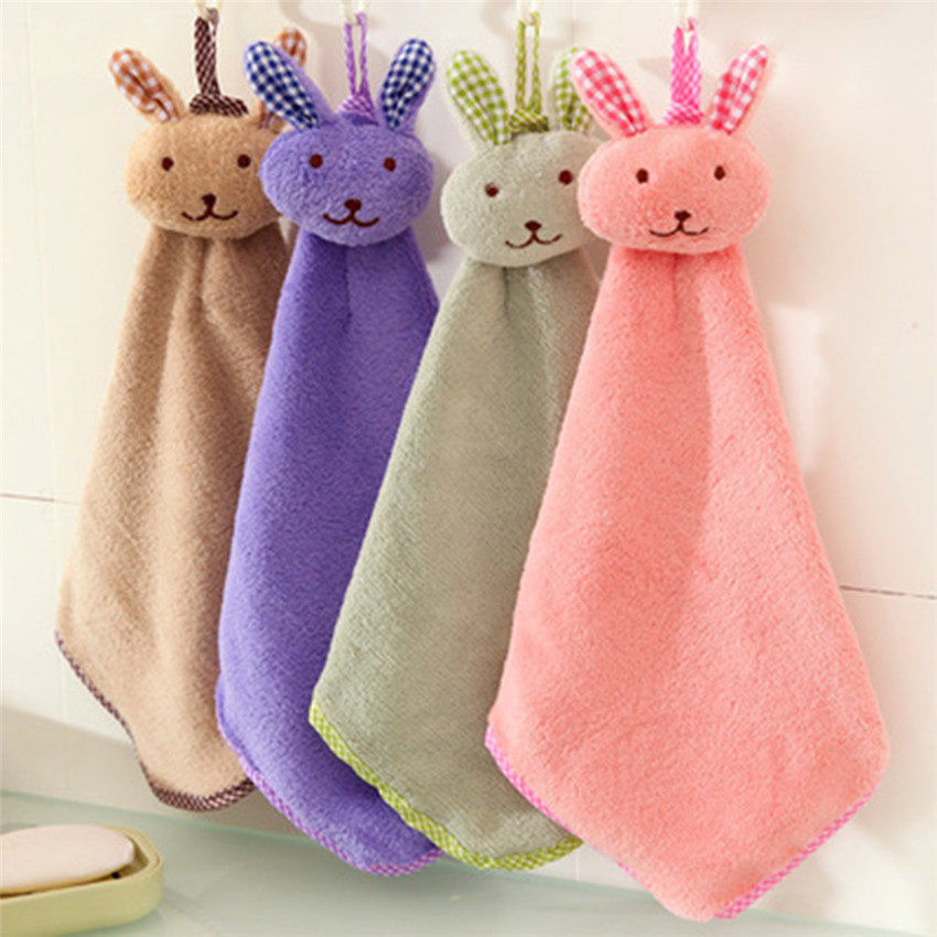 2018 cute Baby Hand Towel Cartoon Animal Rabbit Plush Kitchen Soft Hanging Bath Wipe Towel hanging Towels soft to skin #0224