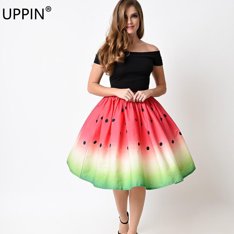 Uppin юбка женская новые летние Мода печатных юбка-пачка Для женщин Высокая Талия Цветочный принт миди юбка девушки бальное платье плиссированные юбки Дамы юбка плиссированная - Цвет: Picture color