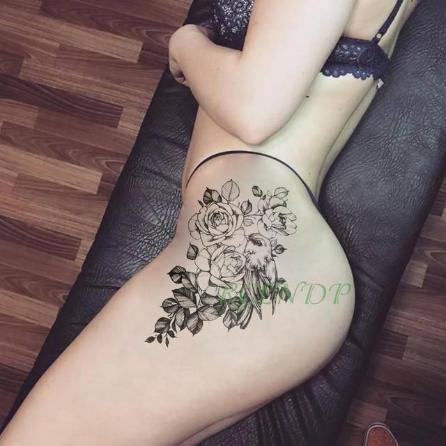 Tatuaje temporal resistente al agua pegatina pájaro flor Rosa falso tatto Cool flash tatouage temporaire arte corporal para chicas mujeres hombres