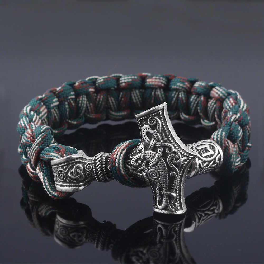 SG livraison gratuite Norse Viking Bracelets Avengers 4 Thor Mjolnir marteau amulette Rune noeud corde Bracelets hommes bijoux cadeaux