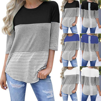 Fashion Women Boho Hippie Casual Striped Half Sleeve Loose T-shirt Tops Spring Autumn Women Clothing Patchwork Top