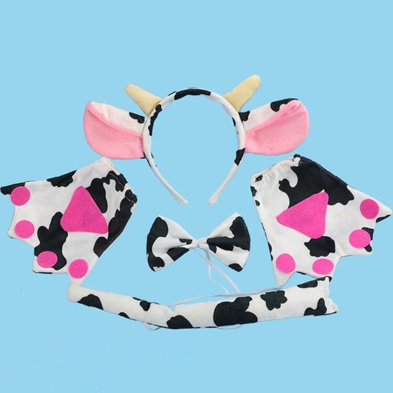 Halloween Party Dalmatian Dog Ear Headband Tail Bow Paws Gloves 4pcs Costume Set