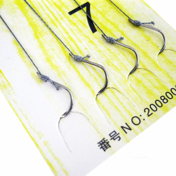 10 pairs Fishing Fish Line String Hook Explosion BarBed double Hook 3#-8#