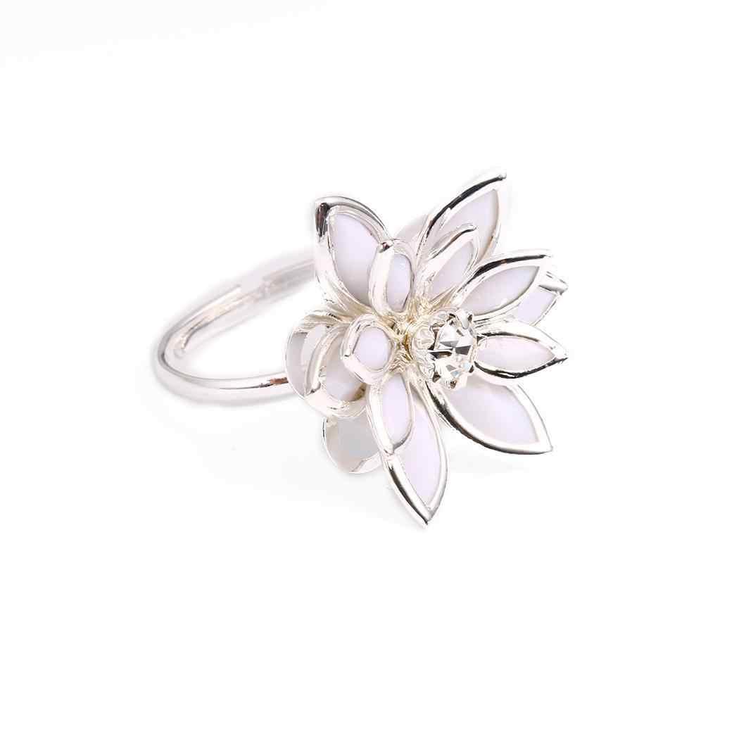 คุณภาพสูงสีดำสีขาว Camellia แหวน Rose Gold สีออสเตรียคริสตัลงานแต่งงานแหวน anillos snow lotus แหวน