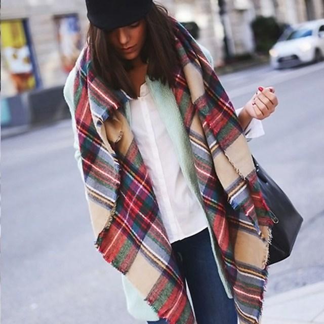Women Blanket Oversized Tartan Plaid Scarf Wrap Shawl Poncho Jacket Coat Stole Newest