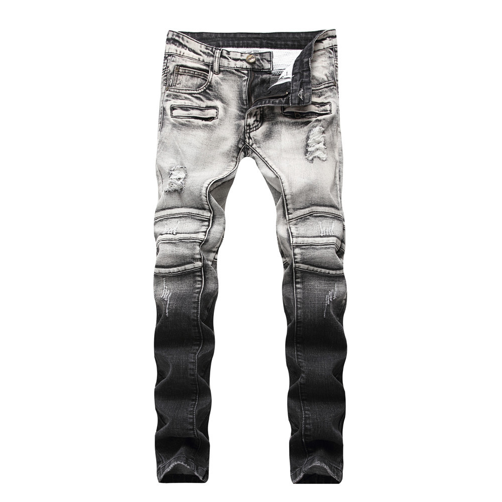 Jeans men 2018 spring ripped jeans for mens joggers distressed preppy style hole patchwork mid waist straight full length