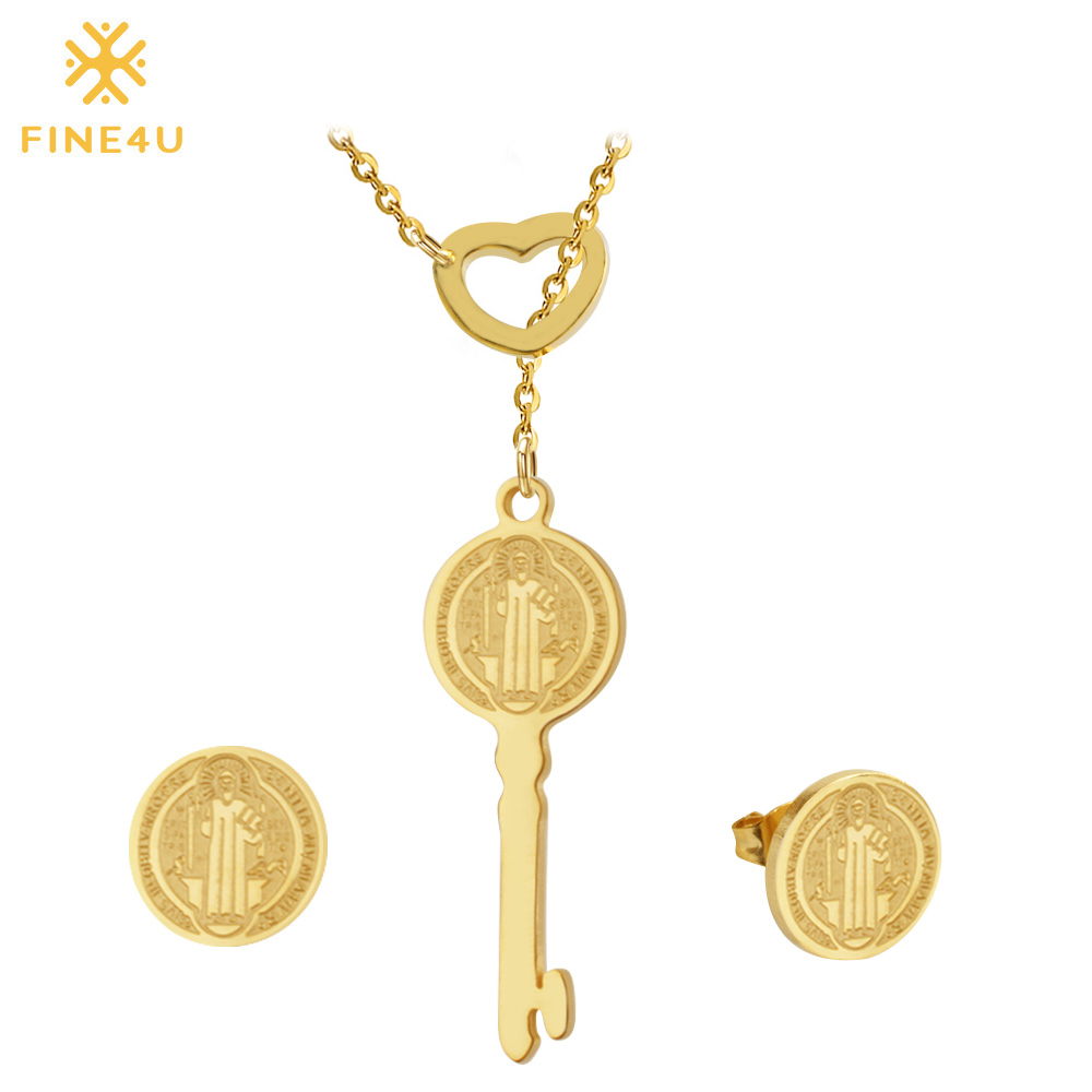 FINE4U Earrings Set Jewelry-Sets Necklaces San Benito 316l-Stainless-Steel Women Key