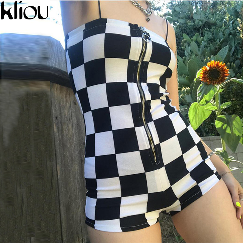 Kliou 2018 New Plaid Playsuits Women Sexy Backless Strapless Zipper Fly Short Bodysuits Female Workout Street Plaid Playsuits