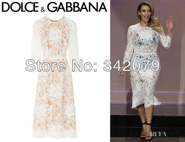 ph12031 Kim Kardashian 3/4 sleeve lace and silk organza dress long ...