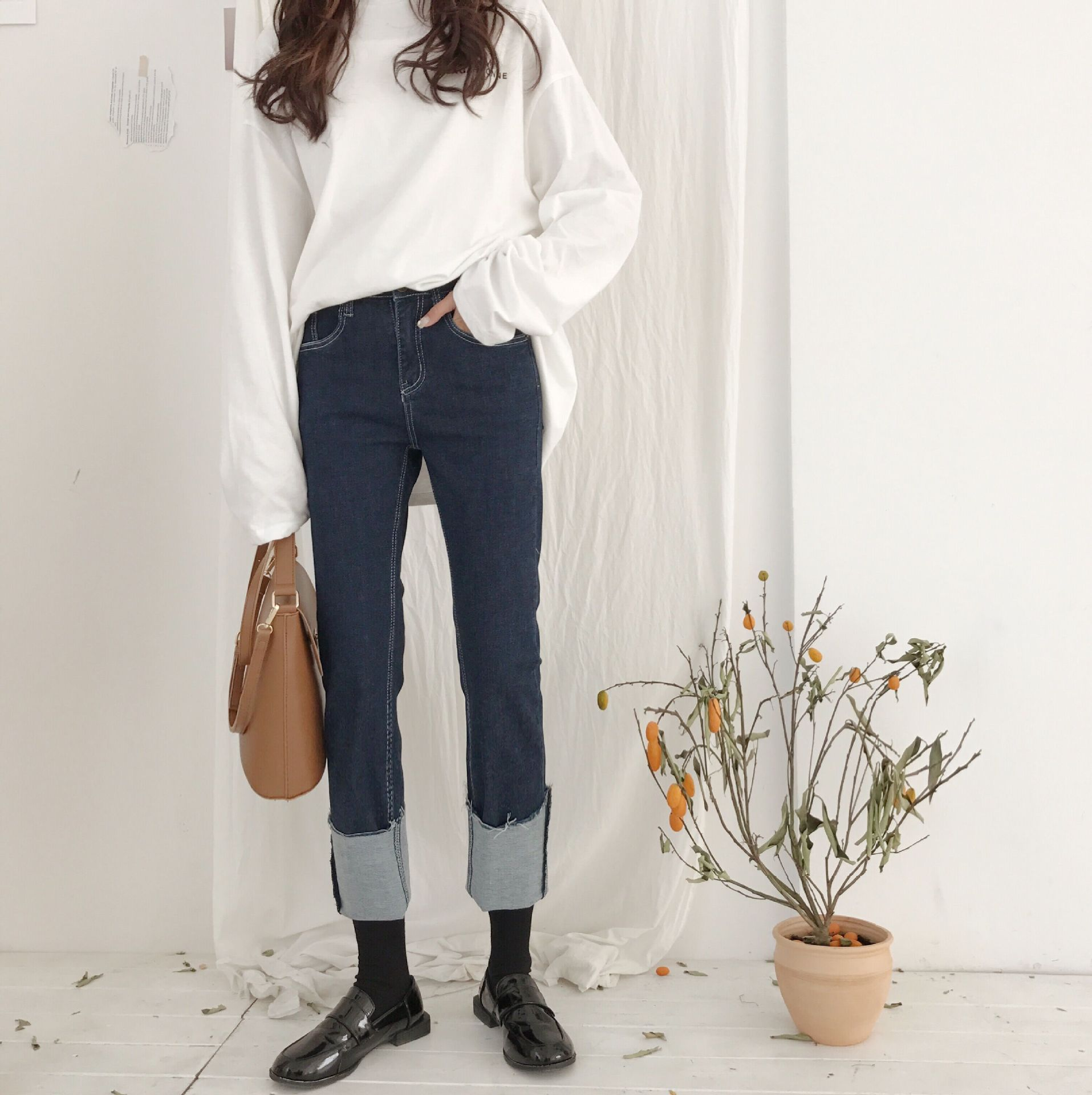 Vintage Korean  Womens Jeans Denim Washed Straight High Waist Jeans Pants Loose Trousers