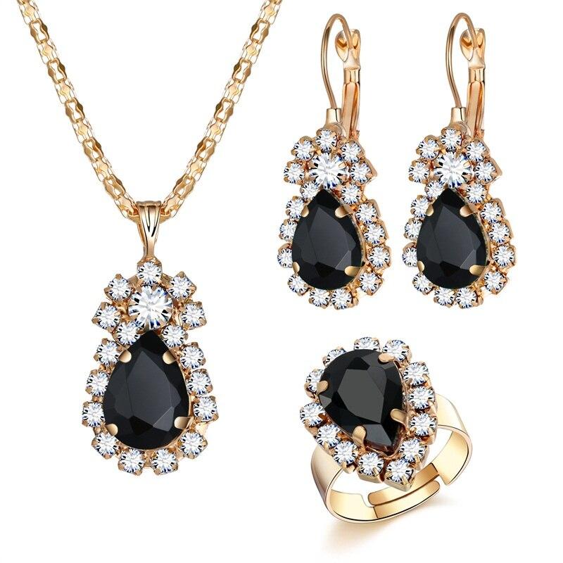 Women Fashion Geometric Shape Rhinestone Pendant Necklace Drop Earrings WST