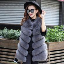 Женские жилеты из лисьего меха большого размера, зимняя куртка без рукавов, манто Femme Hiver, зимние осенние жилеты из искусственного меха K1117