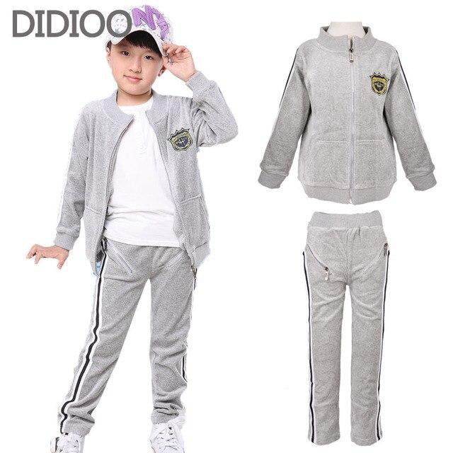 Boys clothing set for boys tracksuit children jacket & pants 2pcs kids clothes autumn kid velour sports suit 4 6 8 10 12 years