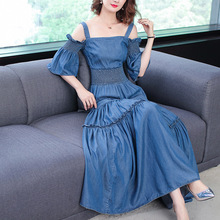 Solid spaghetti strap flare sleeve elastic waist jean a line long dress 2018 new high quality office lady women summer