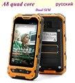 Original Del Teléfono Móvil MTK6582 Quad Core Dual SIM Nuevo A8 2 GB RAM 16 GB ROM IP68 Robusto Teléfono Impermeable A Prueba de Golpes 3G GPS A9 V9D