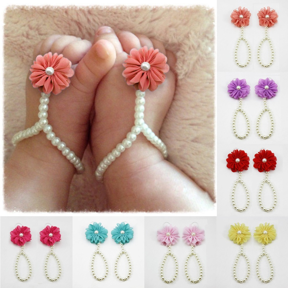 Puseky Summer Gift For Infant Baby Girl  Flower Pearl Foot Band Toe Rings First Walker Barefoot Anklet Chain Accessories