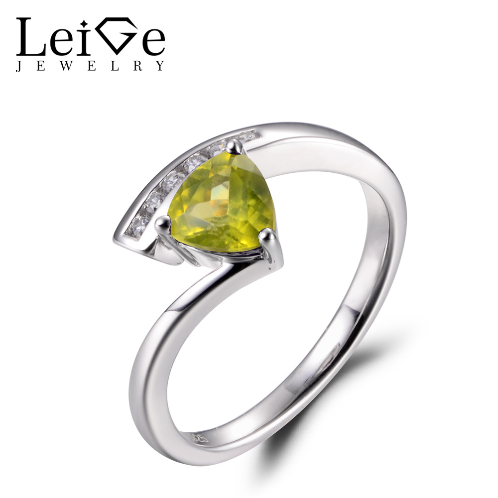 LeiGe Jewelry Natural Peridot Proposal Rings Trillion Cut Green Stone Ring August Birthstone Solid 925 Sterling Silver Gifts leige jewelry real peridot rings proposal ring oval cut green gemstone ring august birthstone ring 925 sterling silver gifts