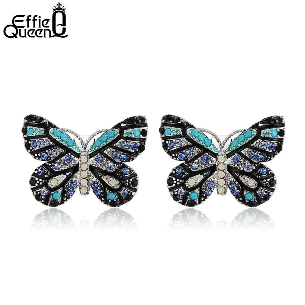 Effie Reine De Mode Coloré CZ Cristal Papillon Boucles D'oreilles pour les Femmes Parti Cadeau De Noël Animal Boucle D'oreille Nouvelle Arrivée DE175