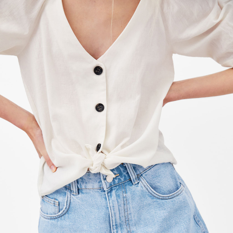 YUUL YIE Vintage Style Women Elegant Single Breasted Short Shirt V-Neck Female Solid Casual Straight <font><b>Blouse</b></font> Puff Sleeve