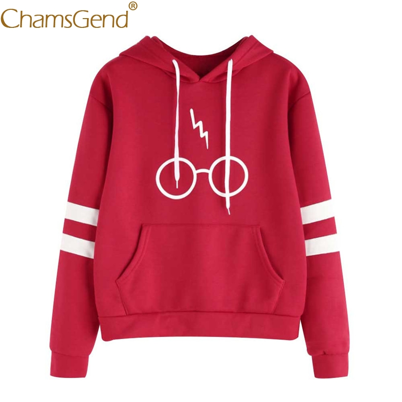 Chamsgend Newly Design Casual Eyeglasses Print Striped Long Sleeve Hoodie Sweatshirt Women Pullover Coat Drop Shipping 71011