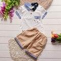 newborn baby boy clothing set 2016 new summer baby suits 2pcs short sleeve patchwork turn-down collar t shirt+cotton shorts