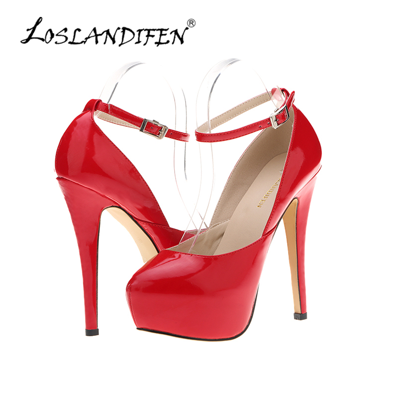 LOSLANDIFEN Women Pumps Round Toe Sexy High Heels Party Platform Pumps 14cm Ladies Ankle Strap Wedding Shoes 817-5PA 2014 sexy women s pumps 20cm ultra high heels platform party dance shoes pumps 8 inch ankle strap crystal shoes free shipping