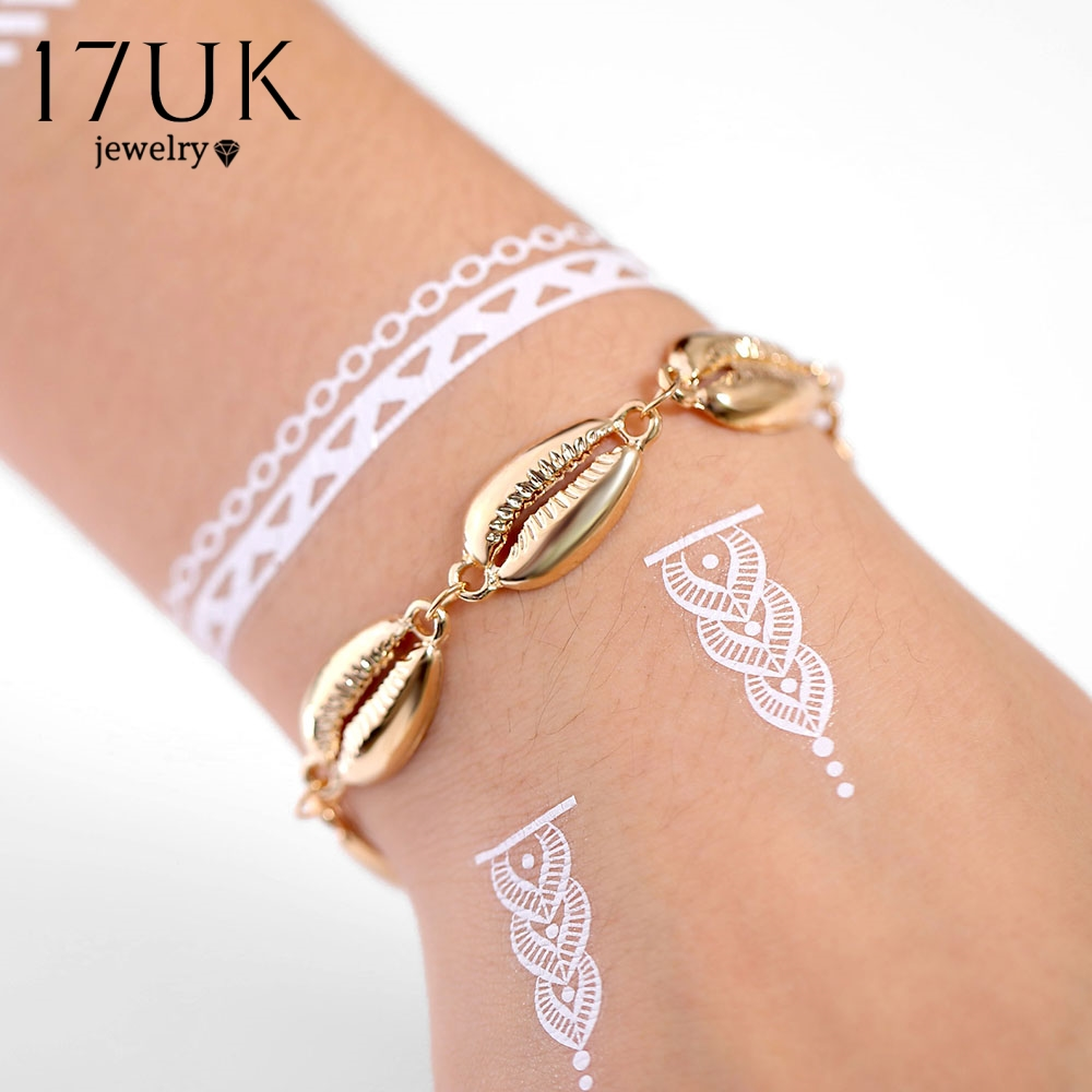 EN Creative Metal Shell Bracelet for Women Elegant Bohemian Ethnic Gold Silver Color Shell Charm Bracelet Fashion Jewelry