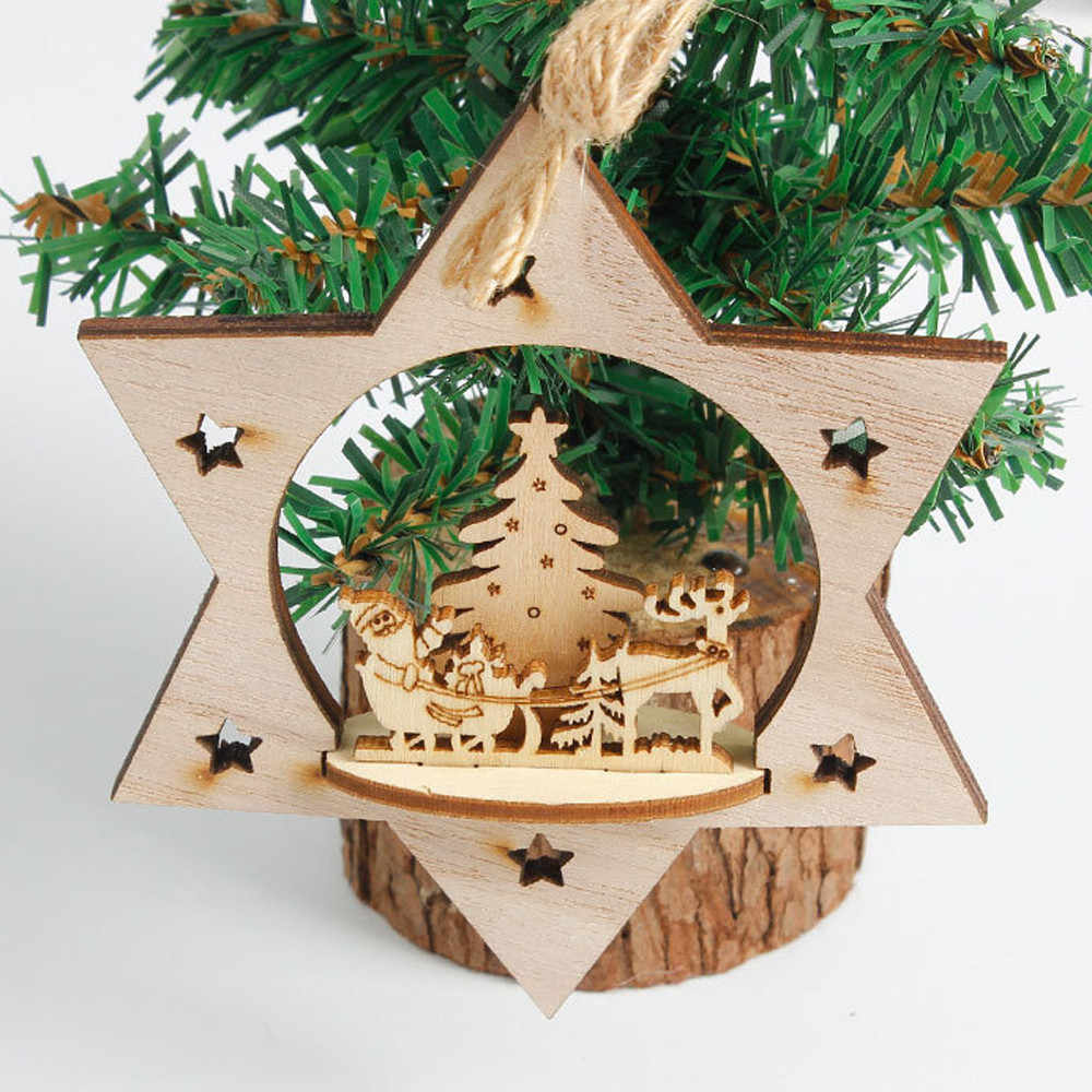 New Snowflake Wooden Embellishments Rustic Merry Christmas Tree Hanging Ornament Drop Pendant Xmas Decorations for Home#h