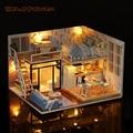 Diy casa de madeira miniaturas com móveis diy casa de bonecas em miniatura brinquedos para crianças presentes de natal e aniversário