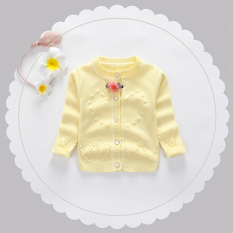 Autumn Baby Girls Solid Loving Heart Long Sleeve Knitwear Cardigans Kids Knitted Sweater Infant Outerwear Coat