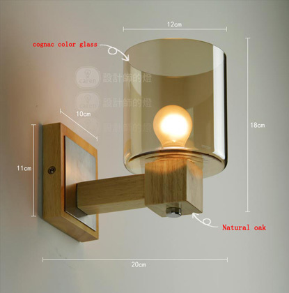new element oak wall light cognac color glass wall lamp wall sconces lighting contains led bulbs free shipping