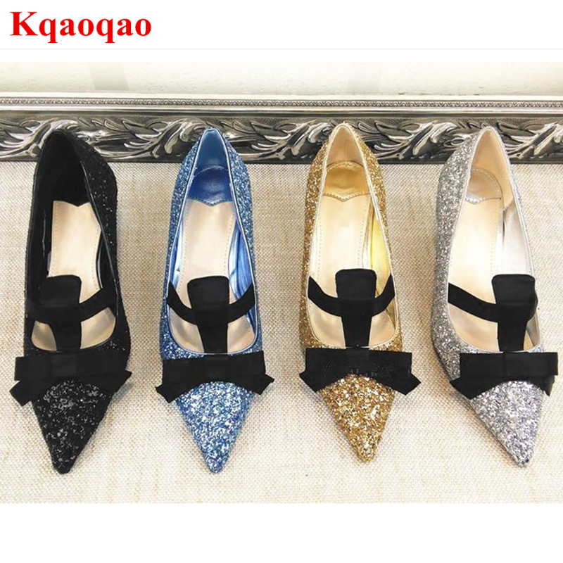 Pointed Toe Bow Tie Decor Women Pumps High Heel Stiletto Sequined Cloth Bling Wedding Party Runway Hot Brand Star Shoes Low Top