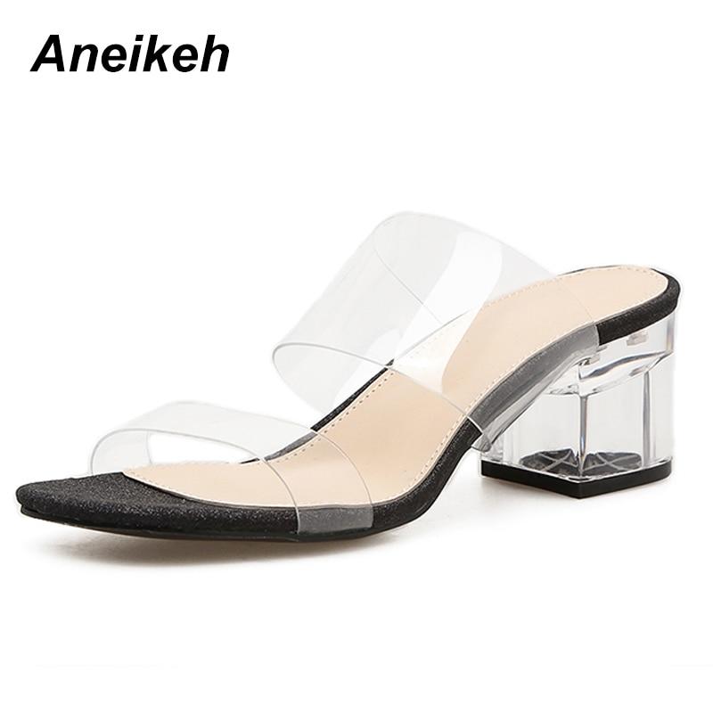 100% Wahr Aneikeh Neue Frauen Sandalen Mode Gladiator Pvc Casual Slip Auf Sommer Schuhe Sexy Flach Klar Ferse High Heel Sandalen Chinesische Aromen Besitzen