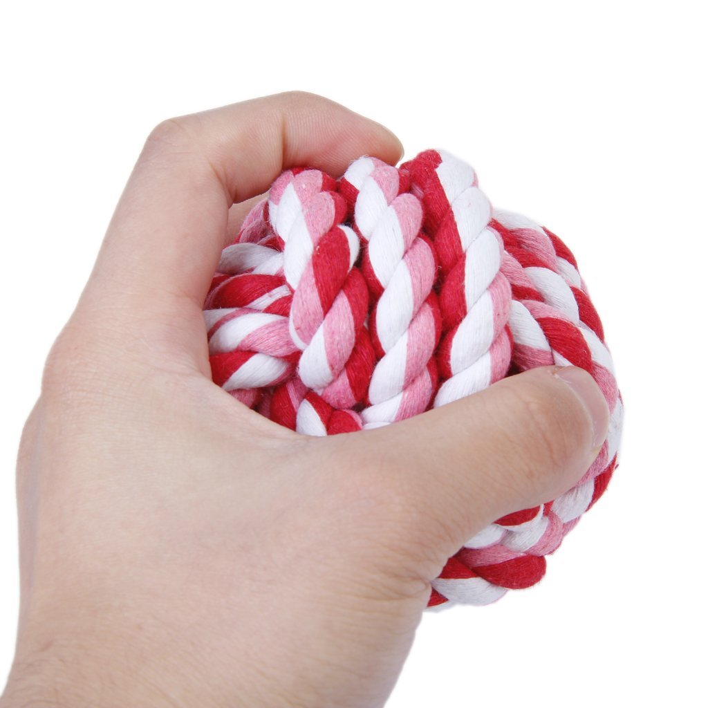 Practical Boutique Pet Dog Braided Cotton Rope Knot Chew Toys Games Teeth Clean Balls Diameter 9 cm