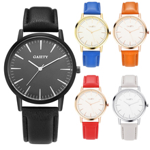 Women Men Simple Faux Leather Strap Alloy Round Case Analog Quartz Wrist Watch
